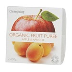 Clearspring fruit puree apple & apricot 2x100 gr