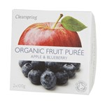 Clearspring fruit puree apple & blueberry 2x100 gr