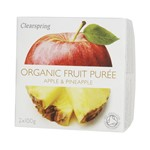 Clearspring fruit puree apple & pineapple 2x100 gr